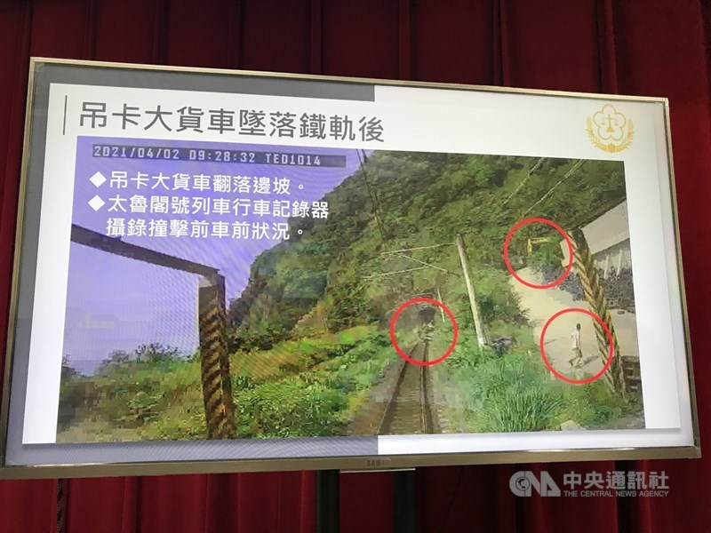台鐵太魯閣號事故案釀重大死傷,花蓮地檢署16日偵查終結,並公布未裁切列車行車紀錄器,證實出現在軌道邊的人影是移工「阿好」。中央社記者張祈攝 110年4月16日