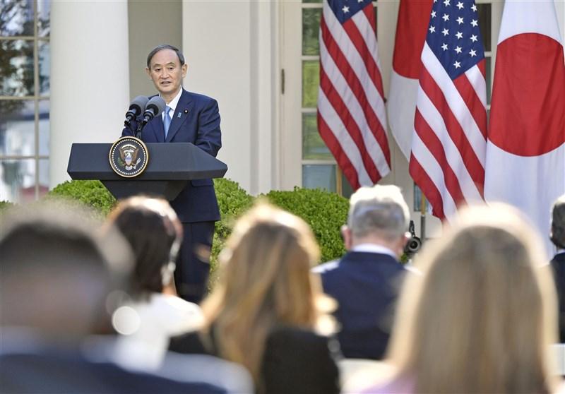 美國總統拜登17日與日本首相菅義偉(圖)在白宮舉行會談,強調台海和平穩定的重要性。(共同社)