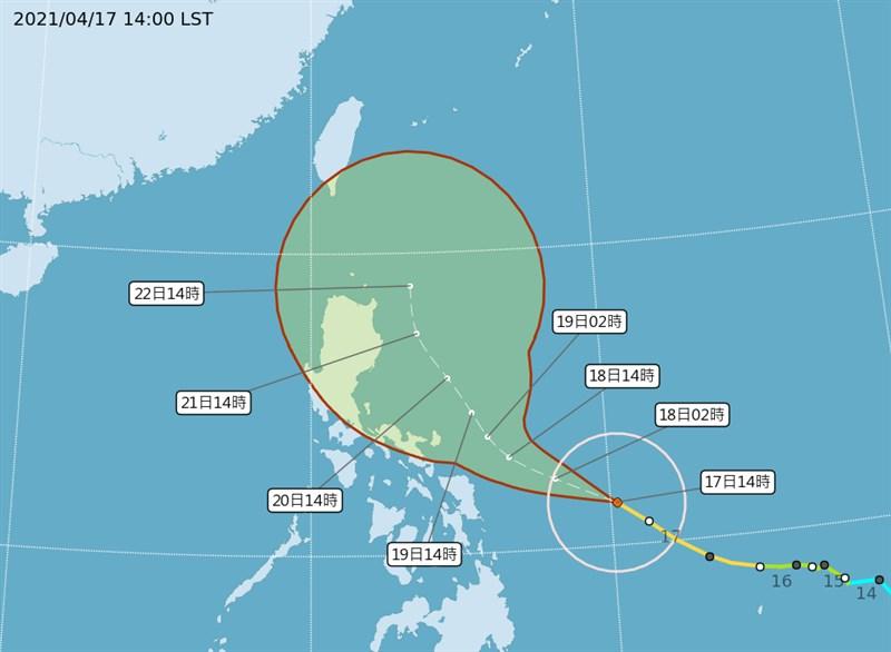 中央氣象局觀測,颱風舒力基17日下午增強為強烈颱風,預估直接影響台灣機率偏低。(圖取自中央氣象局網頁cwb.gov.tw)