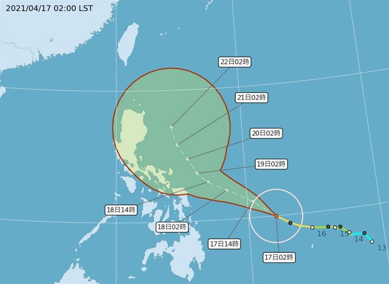 氣象專家吳德榮說,舒力基18日就會增強為強烈颱風,仍難解桃園以南乾旱。(圖取自中央氣象局網頁cwb.gov.tw)