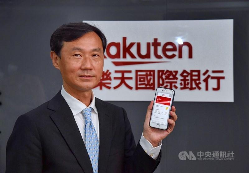 樂天總經理佐伯和彥看好台灣電支市場,預告將推出電支新服務,將打通線上線下創造雙向循環,做大生態系。中央社記者王飛華攝 110年4月18日