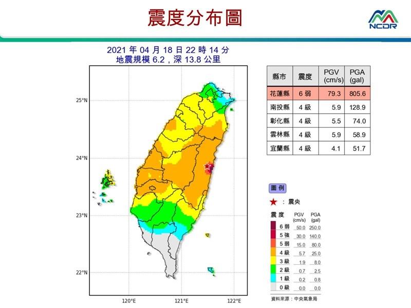 花蓮壽豐18日晚間10時連2震,地震測報中心主任陳國昌表示,這是震度新分級上路後首次達6弱、5強級,不排除會有規模5以上的餘震。(圖取自國家災害防救科技中心LINE帳號)