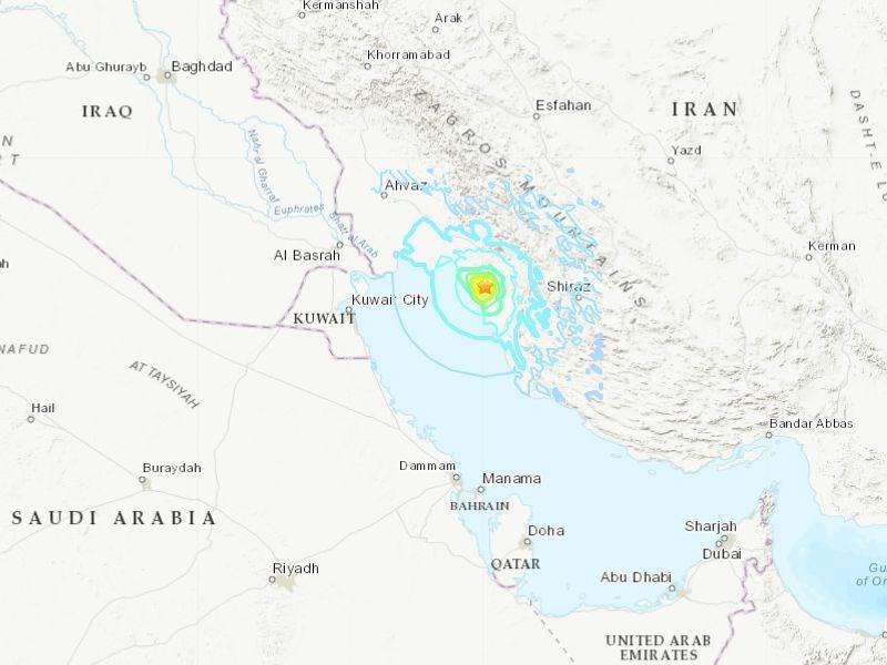 根據美國地質調查所,伊朗戈納維北北東方27公里處18日發生芮氏規模5.8地震,深度為10公里。星號處為震央。(圖取自美國地質調查所網頁earthquake.usgs.gov)