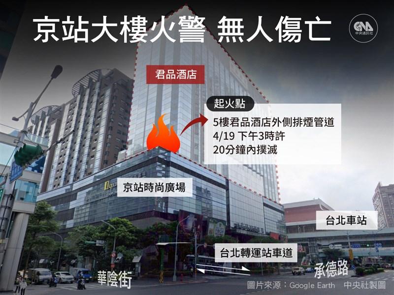 台北市承德路君品酒店靠近京站大樓外19日發生火警,警消到場發現靠近5樓外側排煙管道起火,火勢在20分鐘內撲滅,疏散302人,無人受傷。(中央社製圖)