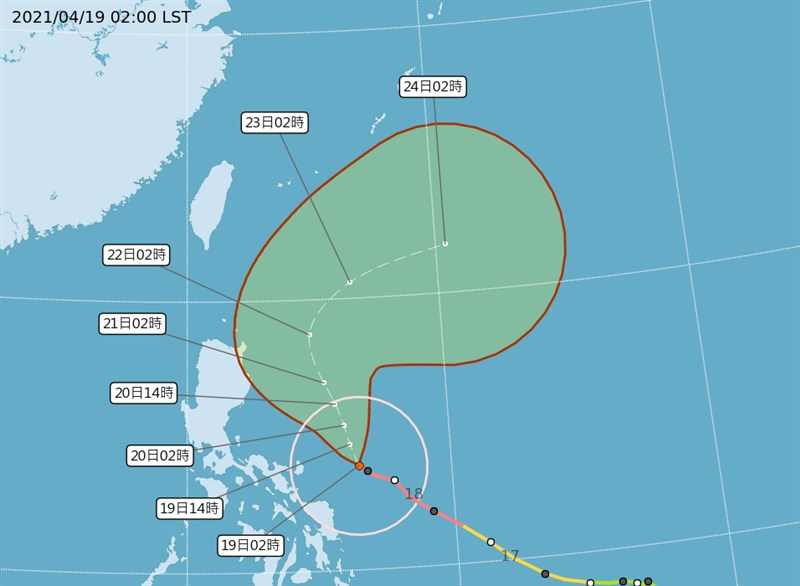 氣象專家吳德榮表示,舒力基22日因颱風外圍在迎風面的抬升作用,東半部有明顯降雨,但對西半部桃園以南難以紓解旱象。(圖取自中央氣象局網頁cwb.gov.tw)