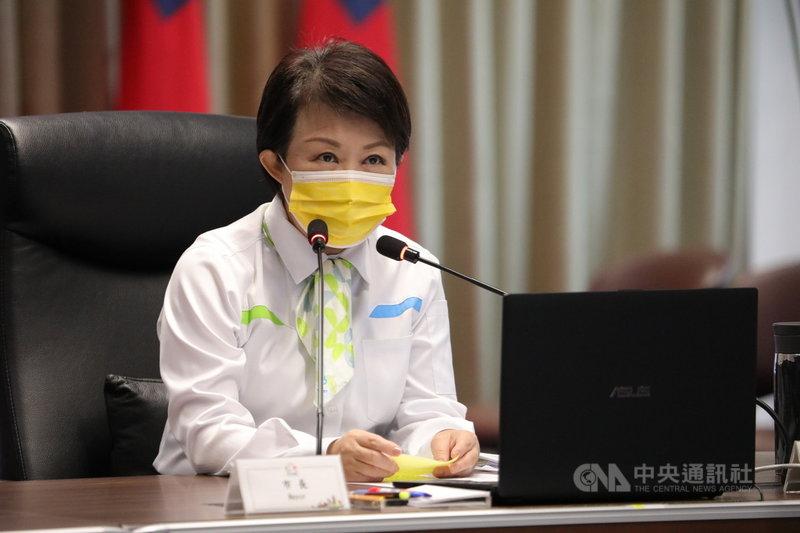 台中市長盧秀燕20日在市政會議中表示,接獲很多市民反映,都未收到國家發布的地震警報,她建議中央檢討警報發布,要有統一規定。(台中市政府提供)中央社記者郝雪卿傳真 110年4月20日