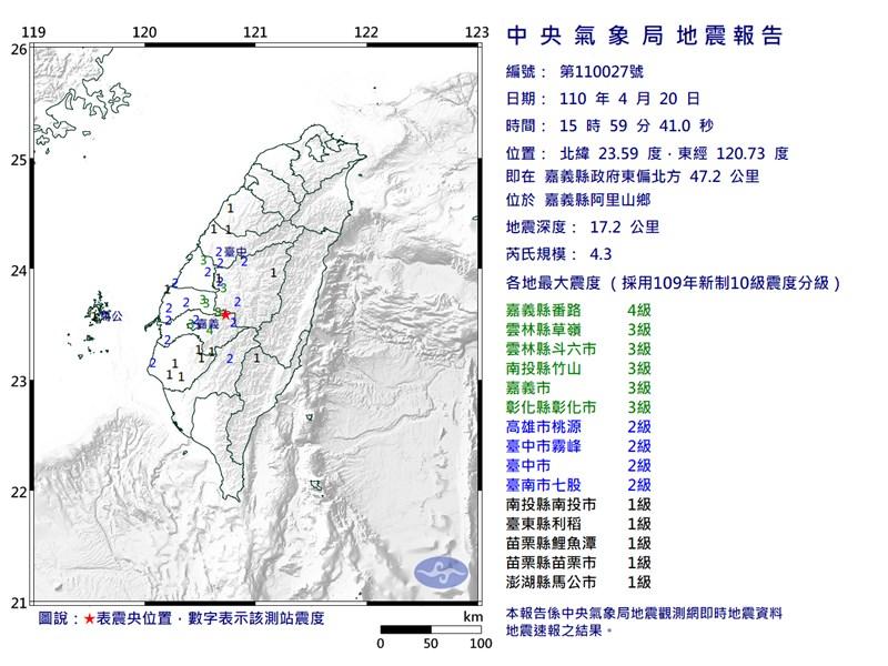 嘉義縣阿里山鄉20日下午發生芮氏規模4.3地震。(圖取自中央氣象局網頁cwb.gov.tw)