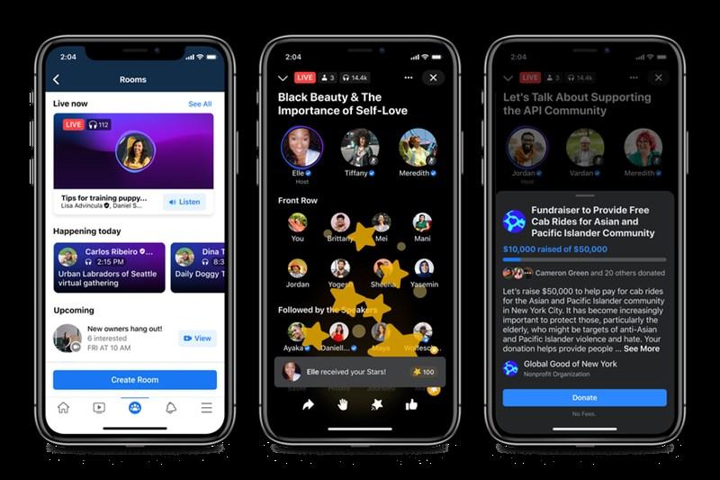 臉書20日表示,他們將在臉書新增Podcast服務,並有類似暴紅的語音社交軟體Clubhouse的「直播錄音室」(live audio rooms)功能問世。(圖取自臉書網頁about.fb.com)