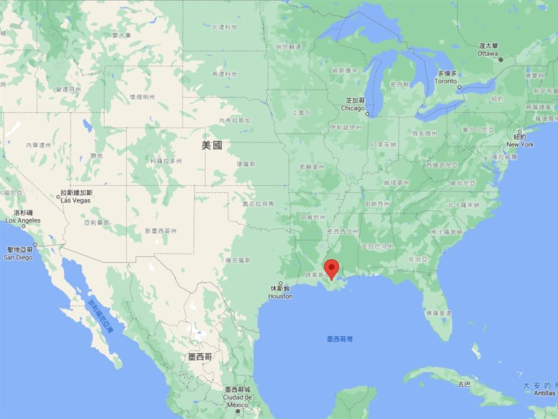台塑集團2018年宣布,將在美國路易斯安那州聖詹姆斯郡(標示處)興建一座占地970公頃的石化園區。(圖取自Google地圖網頁google.com.tw/maps)