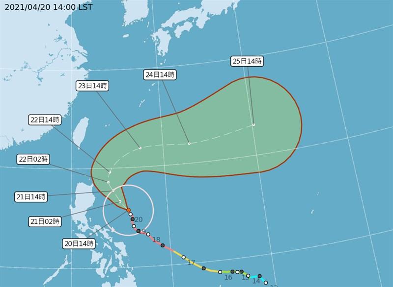 中央氣象局表示,預估強颱舒力基22日最接近台灣,恆春半島可能出現3至5公尺高的長浪。(圖取自氣象局網頁www.cwb.gov.tw)