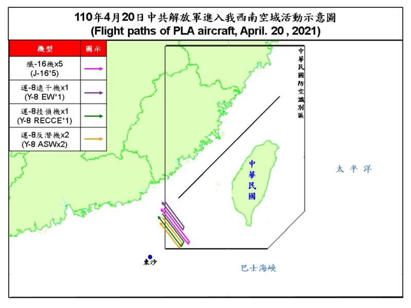 空軍20日發布共機動態,共9架共機侵擾台灣西南防空識別區。(圖取自國防部網頁mnd.gov.tw)