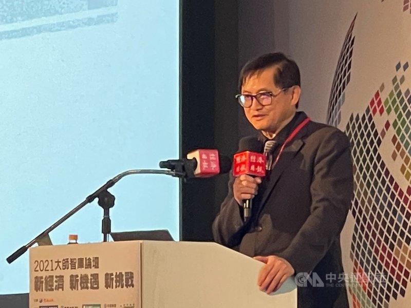 代工大廠和碩董事長童子賢21日出席2021大師智庫論壇,以「數位經濟下,企業的變與不變」為題發表專題演講。中央社記者吳家豪攝  110年4月21日