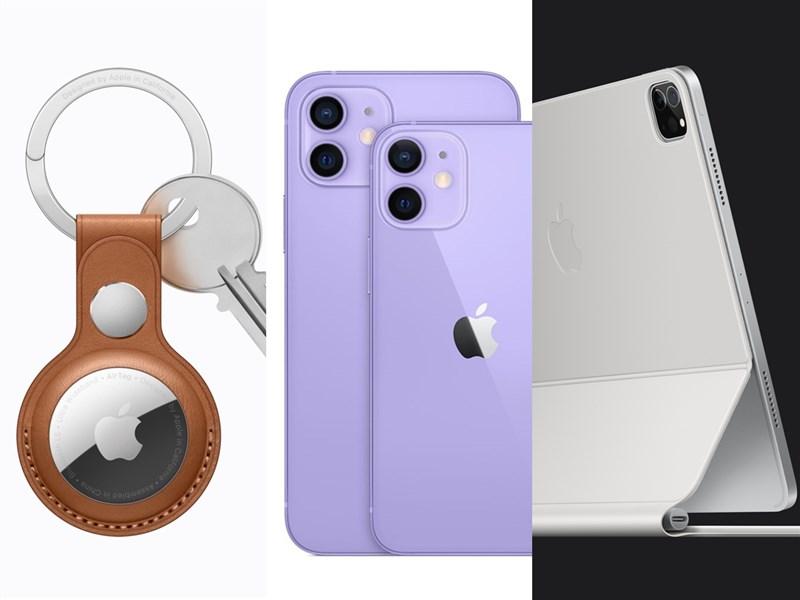 蘋果發表會落幕,3C達人盤點AirTag(左起)、紫色iPhone 12、搭載自家晶片的iPad Pro等5亮點。(圖取自Apple網頁apple.com)