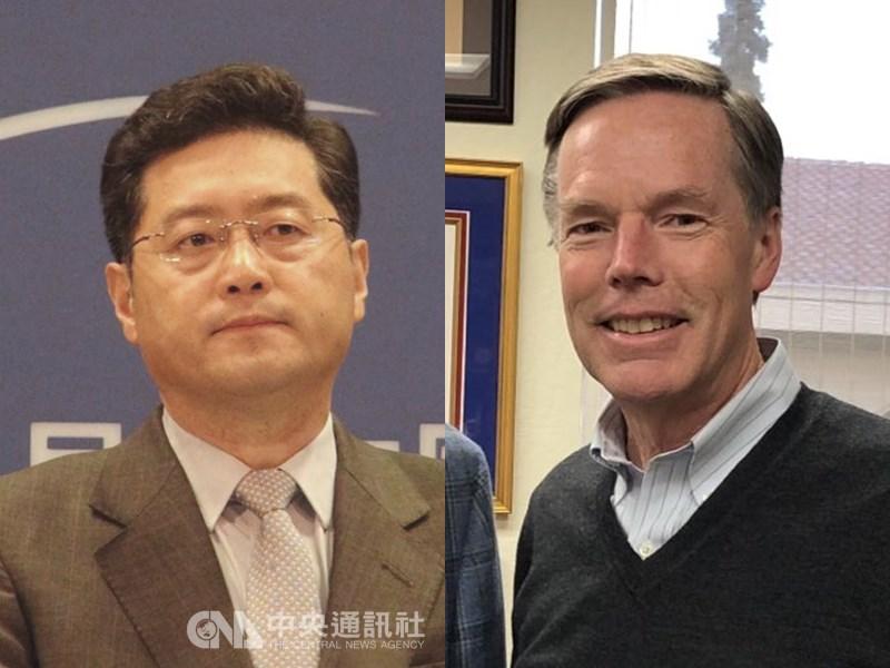 北京計劃任命外交部副部長秦剛(左)擔任駐美大使,美國則傳出將任命前國務次卿勃恩斯(右)擔任駐中大使。(左圖中央社檔案照片;右圖取自twitter.com/RNicholasBurns)