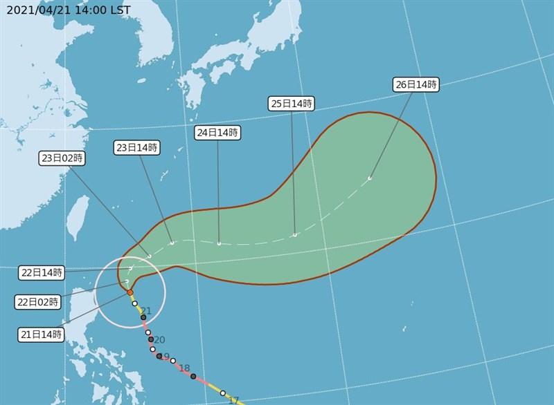 中央氣象局表示,颱風舒力基22日白天最接近台灣,21日晚起東北角、宜蘭、花蓮會開始有局部降雨情形。(圖取自中央氣象局網頁cwb.gov.tw)