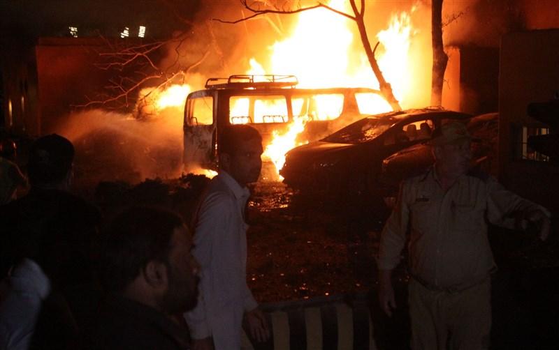 巴基斯坦西南部一家頂級飯店遭炸彈攻擊發生爆炸。(安納杜魯新聞社)