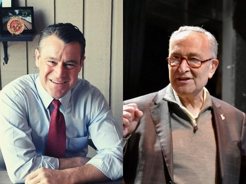 美國民主黨領袖舒默(右)和共和黨參議員楊恩(左)21日提出法案,要求美國政府5年內投入1000億美元在科技和科學上。(左圖取自facebook.com/ToddYoungIndiana,右圖取自https://www.facebook.com/senschumer)