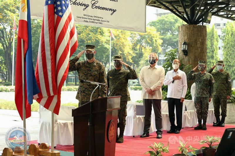 菲律賓與美國一年一度的大型軍事演習「肩並肩」(Balikatan)聯合軍演23日閉幕。(菲律賓軍方提供)中央社記者陳妍君馬尼拉傳真 110年4月23日