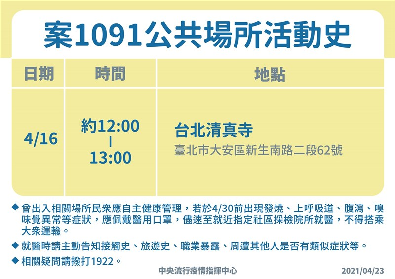 中央流行疫情指揮中心23日公布案1091公共場所活動史。(圖取自疾管署網頁cdc.gov.tw)