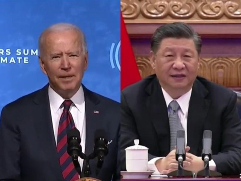 美國主辦、為期2天的氣候變遷領袖視訊峰會22日上午召開,這也是美國總統拜登(左)上任以來,首度與中國國家主席習近平(右)同框會談。(圖取自2021 Leaders' Summit on Climate YouTube網頁youtube.com)