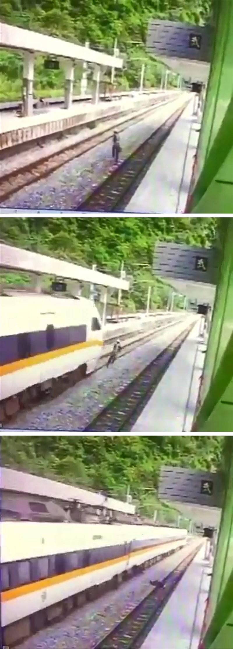 405次台東開往樹林太魯閣號24日上午通過武塔站時,一名工人跨越月台,列車緊急煞車仍撞上。(民眾提供)