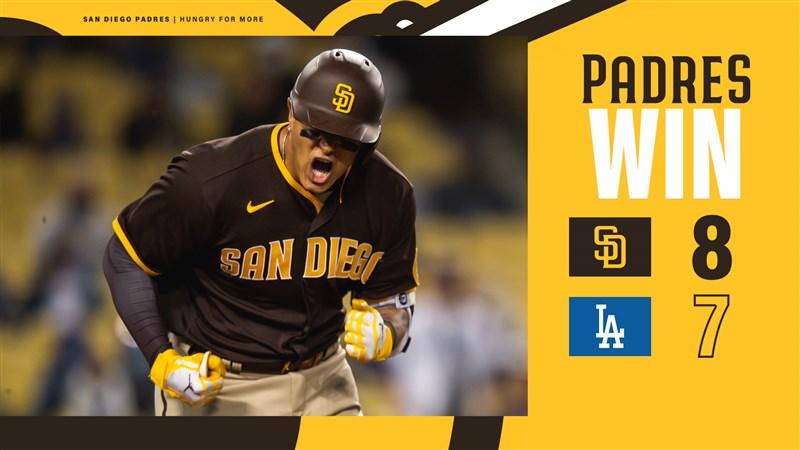 美國職棒大聯盟MLB聖地牙哥教士25日以8比7在客場險勝道奇。(圖取自twitter.com/Padres)