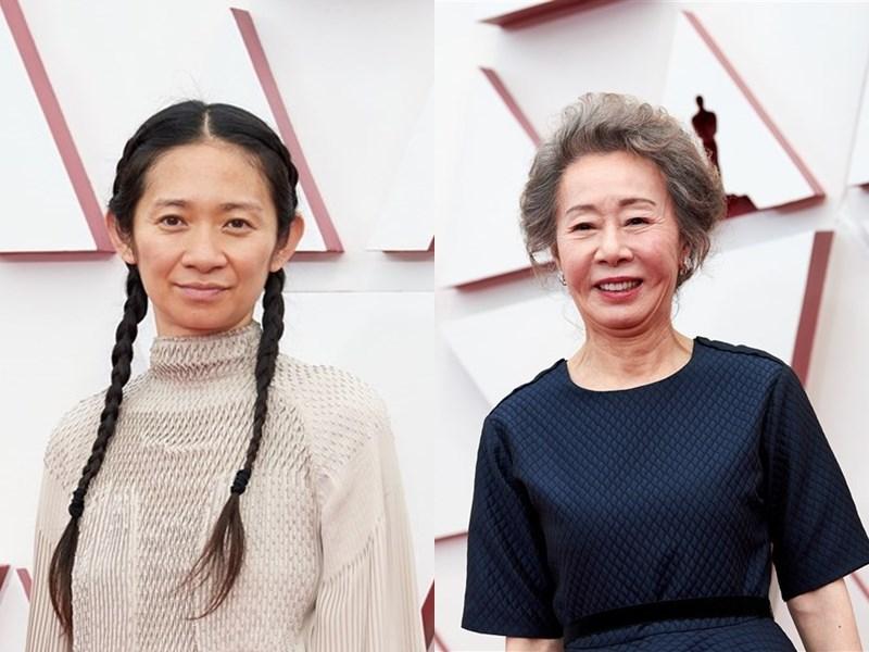 中國導演趙婷(左)以「游牧人生」勇奪奧斯卡最佳導演獎。韓國73歲資深女演員尹汝貞(右)以電影「夢想之地」摘下第93屆奧斯卡最佳女配角獎。(美國影藝學院提供)
