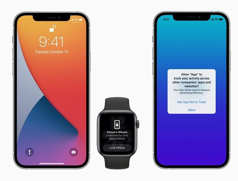 蘋果公司27日正式釋出iOS 14.5作業系統更新,新功能包括在戴口罩時以Apple Watch解鎖iPhone。(圖取自Apple官方網頁www.apple.com)