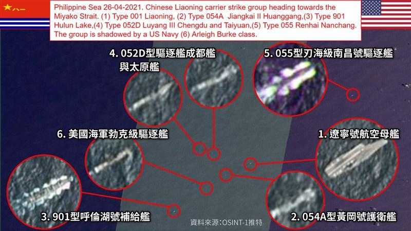 根據推特帳號OSINT-1發布的衛星照片,美國海軍勃克級驅逐艦(編號6)混入遼寧號(編號1)航母編隊。(圖取自twitter.com/OSINT_1)