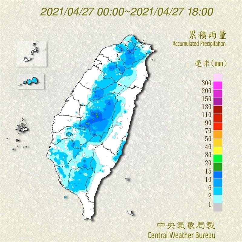 根據中央氣象局資訊,27日東半部及南部地區有零星降雨機會,午後西半部山區仍有局部短暫雷陣雨。(圖取自中央氣象局網頁cwb.gov.tw)