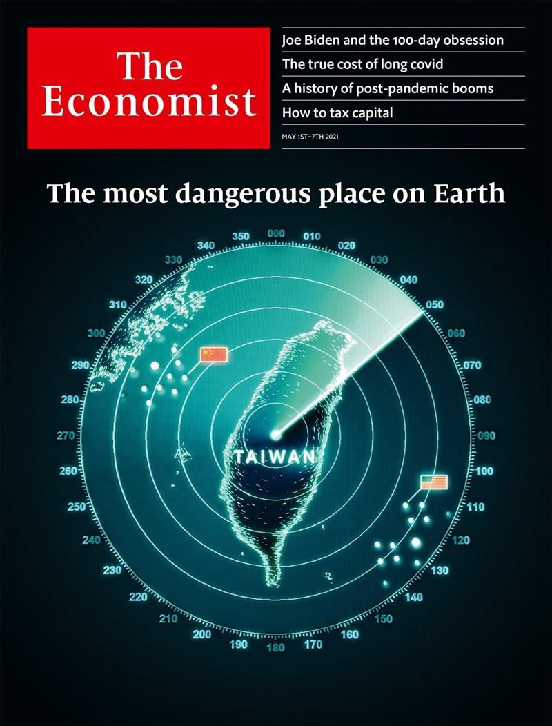 「經濟學人」30日公布當期封面,以台灣雷達圖為主視覺,左有中共五星旗、右有美國星條旗,並稱這是「地球上最危險地區」。(圖取自facebook.com/TheEconomist)