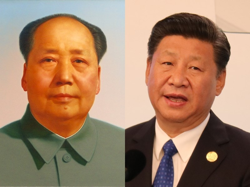 中共「人民日報」稍早前發布建黨百年百句名言錄,絕大部分出自中共五代領導人之口,毛澤東(左)和習近平(右)各占30句。(左圖取自維基共享資源,作者Zhang Zhenshi ,CC BY 2.0;右圖中央社檔案照片)