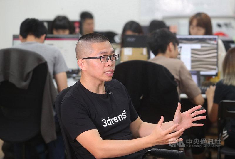 台灣新創公司「三維人3drens」創辦人余嘉淵暢談創業歷程及未來願景,夢想像晶片大廠英特爾創造出電腦處理器Intel Inside的響亮名聲,打造3drens Inside車聯網品牌。中央社記者裴禛攝 110年5月2日