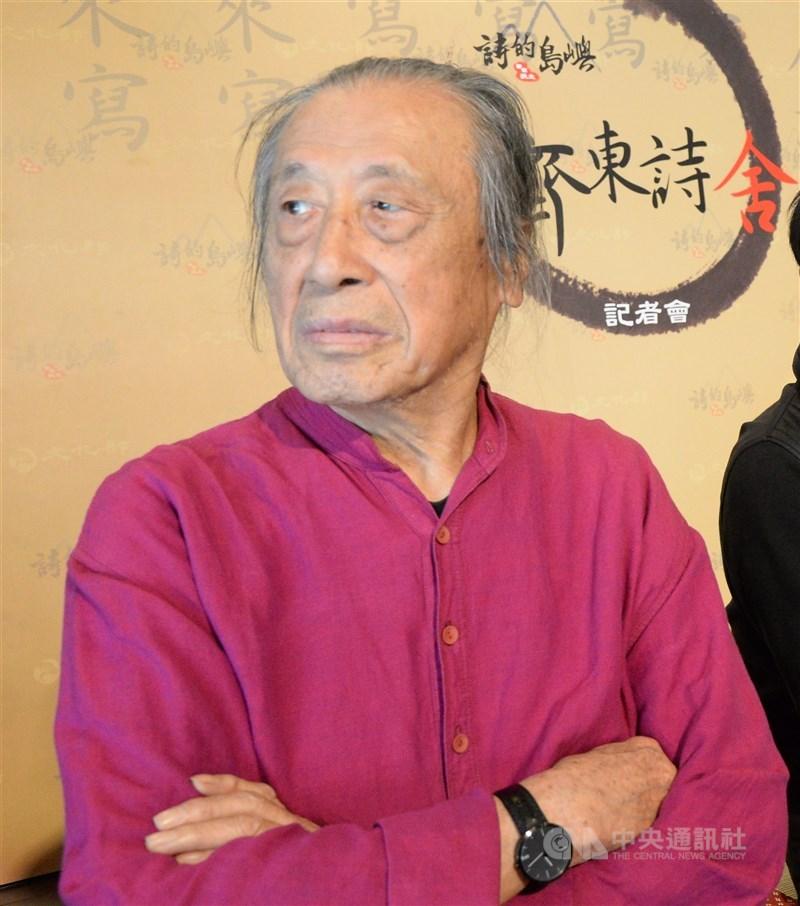 詩人管管因跌倒昏迷,5月1日過世,享壽92歲。圖為2014年管管出席記者會。(中央社檔案照片)