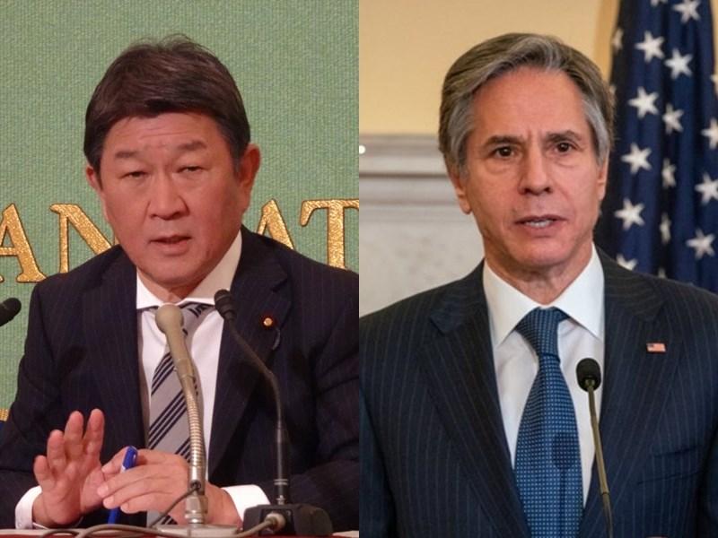 日本外務省2日宣布,日本外務大臣茂木敏充(左)倫敦時間3日上午將與美國國務卿布林肯(右)會談。(左圖為中央社檔案照片,右圖為美國國務院提供)