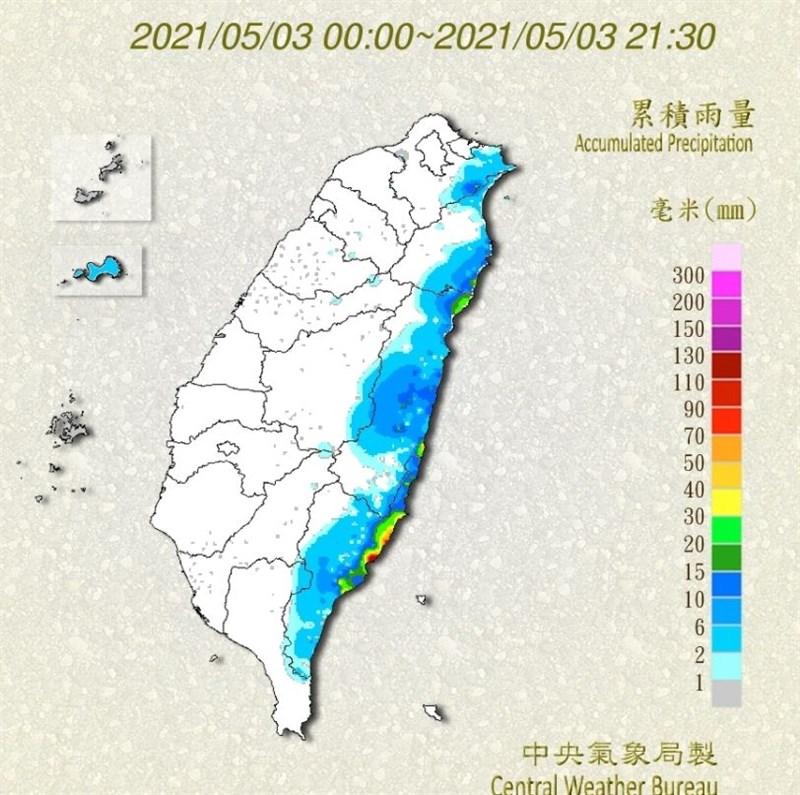 中央氣象局表示,3日雨量統計到晚間9時,降雨前10名都集中花蓮和台東。(圖取自氣象局網頁cwb.gov.tw)