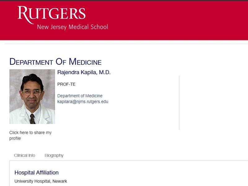 印度裔美國傳染病專家卡比拉醫生3日染疫病逝,他生前曾接種兩劑輝瑞疫苗,但仍不敵印度變異病毒。(圖取自羅格斯大學醫學院網頁njms.rutgers.edu)
