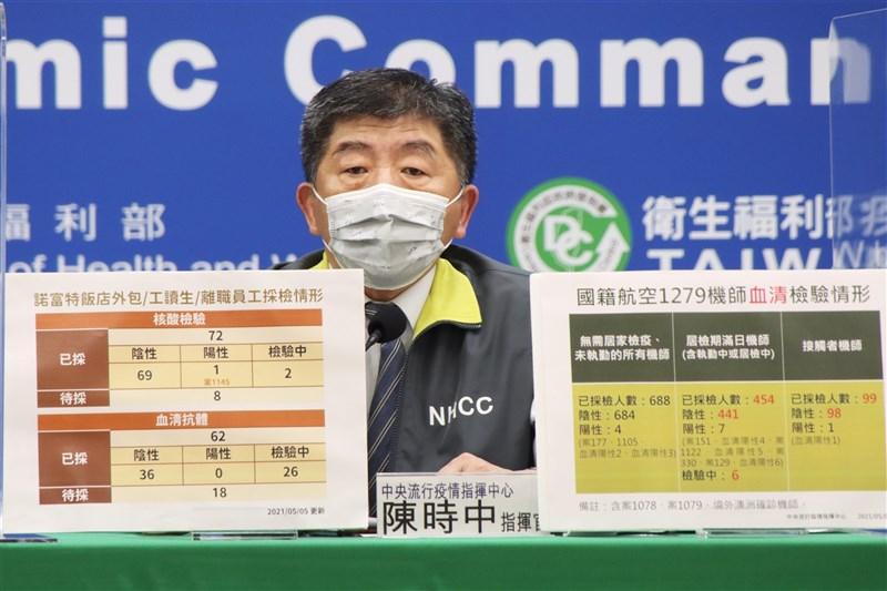 指揮中心指揮官陳時中5日宣布國內新增7例武漢肺炎境外移入病例,本土病例零確診,華航諾富特案也沒有新增個案。(指揮中心提供)