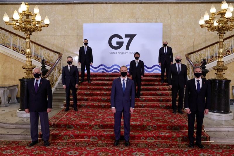 七大工業國集團(G7)外長5日在倫敦舉行會議(圖),會後公報中兩度提及台灣。(圖取自twitter.com/G7)