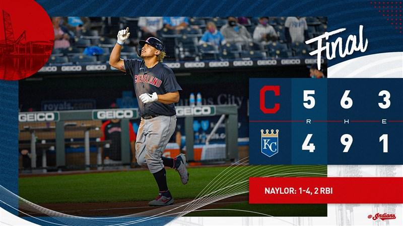 MLB印地安人5日作客皇家,9局上靠著左打者內勒擊出首打席全壘打,終場以5比4逆轉踢館成功。(圖取自twitter.com/Indians)