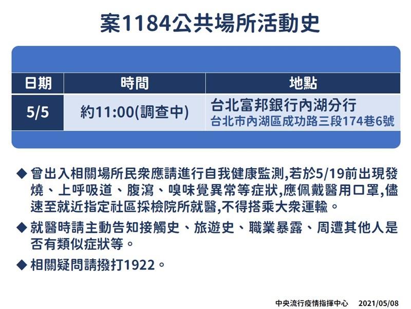 案1184為本國籍50多歲女性,為案1183模擬飛行訓練教官的同住家人。(指揮中心提供)