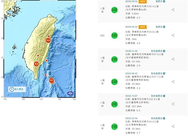 根據中央氣象局觀測,8日清晨5時24分在屏東縣霧台鄉發生規模4.6地震,早上9時4分同樣在屏東縣霧台鄉發生規模4.3地震。(圖取自中央氣象局網頁cwb.gov.tw)
