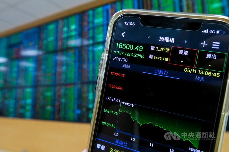 台股11日開盤在電子股拖累下走低,一度大跌超過700點,失守萬七關卡,盤勢一片慘綠。中央社記者王騰毅攝  110年5月11日