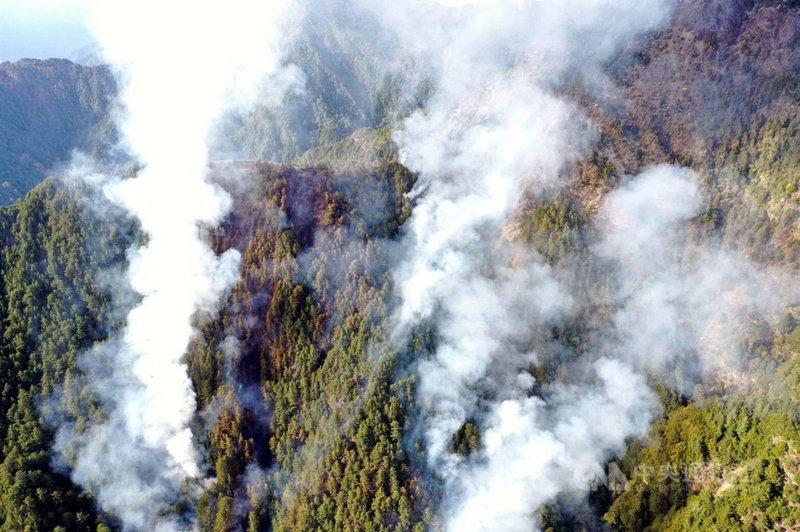 嘉義林管處轄管玉山事業區第52林班的八通關杜鵑營地附近16日發生森林火災,因地處偏遠,搶救人力搭直升機前往,傍晚攀爬到現場。圖為直升機空拍畫面。(嘉義林管處提供)中央社記者黃國芳傳真 110年5月16日