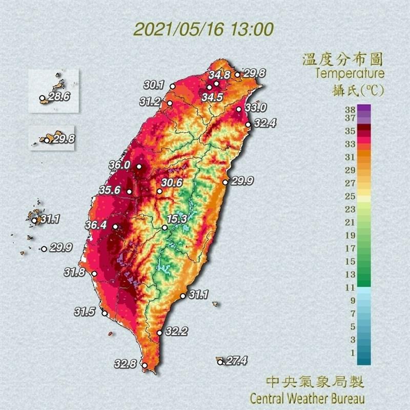 全台晴朗炎熱,台南玉井一度飆到攝氏39.7度。圖為中央氣象局16日下午1時的溫度分布圖。(圖取自氣象局網頁cwb.gov.tw)