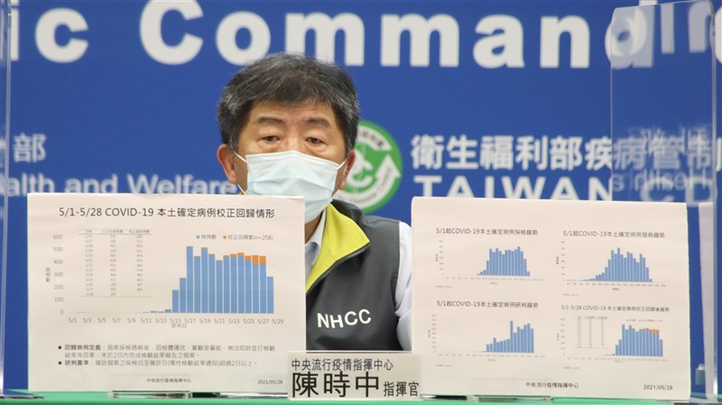 疫情指揮中心指揮官陳時中28日表示,校正回歸後柱狀圖顯示,疫情趨向平坦,但未見下降趨勢,這狀況不太好。(指揮中心提供)