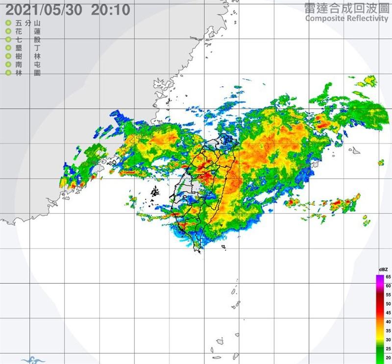 中央氣象局30日發布豪雨特報,台南、新竹等6縣市注意豪雨,另北北基等12縣市防大雨。(圖取自中央氣象局網頁cwb.gov.tw)