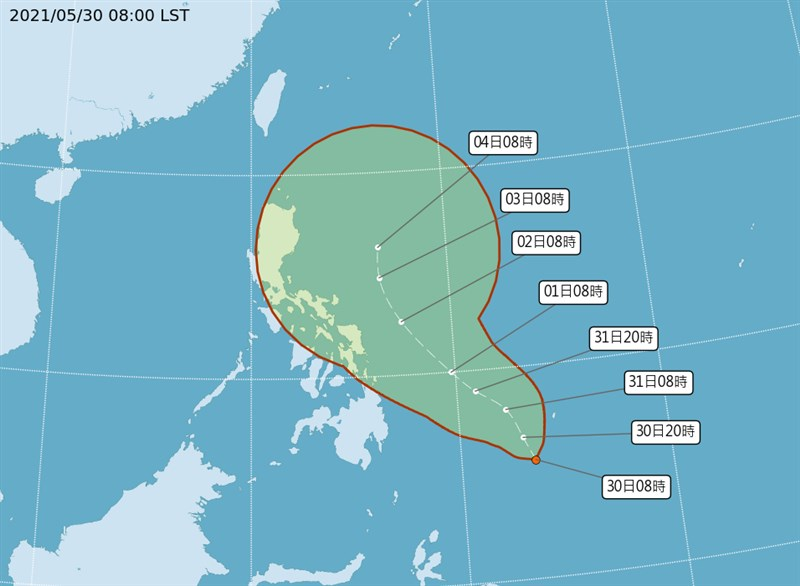 中央氣象局表示,位於菲律賓東方海面的熱帶低壓未來24小時內有機會升格為輕度颱風彩雲,持續往北方移動。(圖取自中央氣象局網頁cwb.gov.tw)