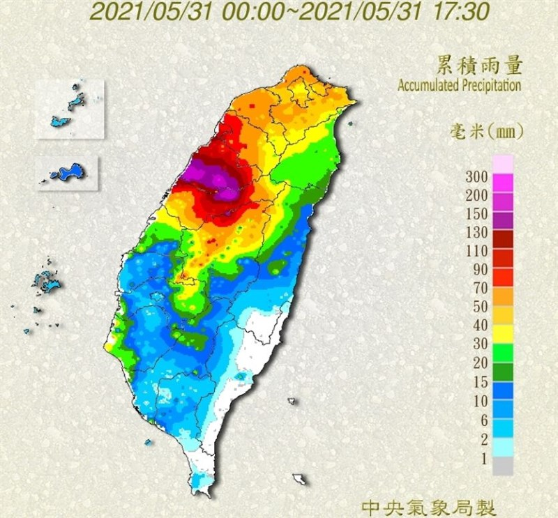 氣象局統計,31日截至晚間5時,累積雨量前10名中苗栗占有7名。(圖取自氣象局網頁cwb.gov.tw)