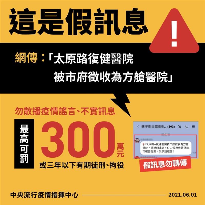 近日網路謠傳台中市太原路的復健醫院將改設方艙醫院,指揮中心1日表示這是假訊息。(指揮中心提供)
